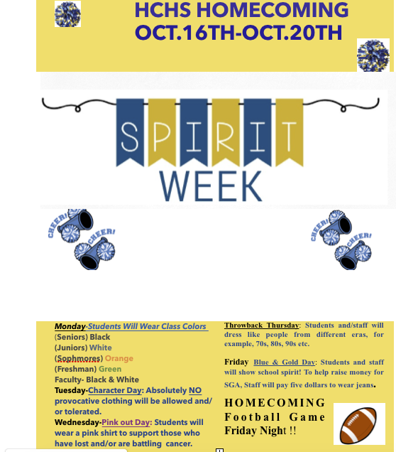 HCHS Spirit Week- Oct. 16th-Oct.20th