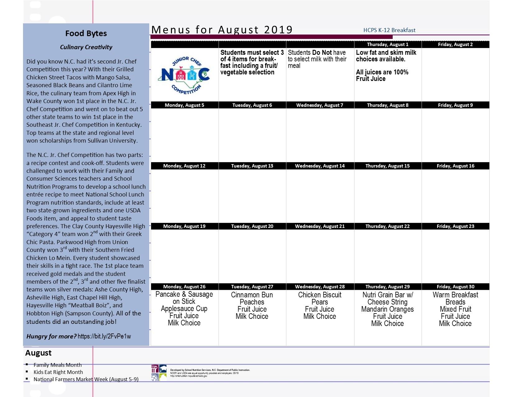 Child Nutrition Menus 2019 2020 School Year
